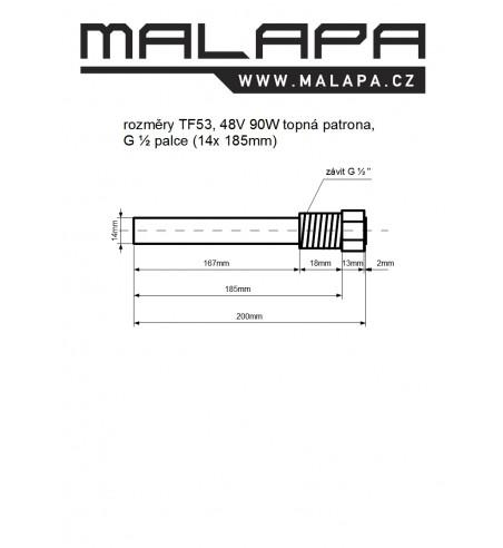 TF53, 48V 90W topná patrona, G ½ palce (14x 185mm)