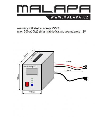 ZZ22, 500W/ 230V záložní zdroj sinusový, pro aku 12V, (přenosný/ na plochu)