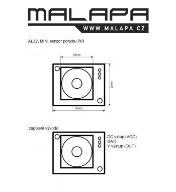 AL32, MINI senzor pohybu PIR