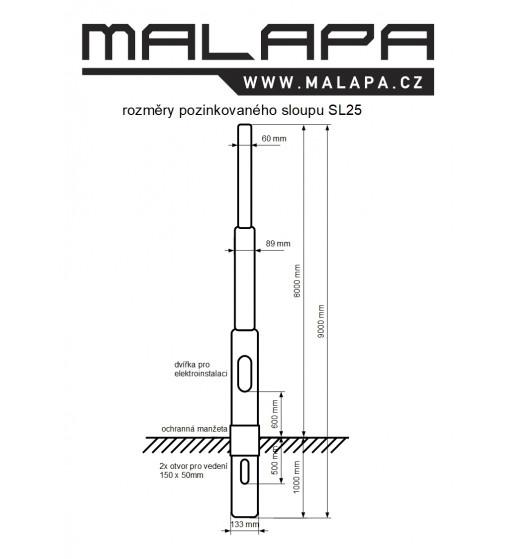 SL25, 8m sloup pozinkovaný, průměr 133/ 89/ 60mm, zatížení 25kg
