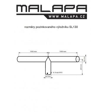 SL130, 2x 1m výložník dvojramenný pozinkovaný, průměr 60mm