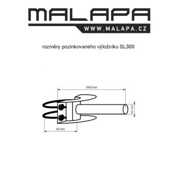 SL300, 1m výložník jednoramenný třmenový pozinkovaný, průměr 60mm