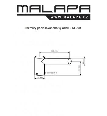 SL200, 0,5m výložník jednoramenný pozinkovaný, průměr 114mm