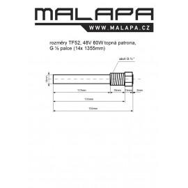 TF52, 48V 60W topná patrona, G ½ palce (14x 135mm)