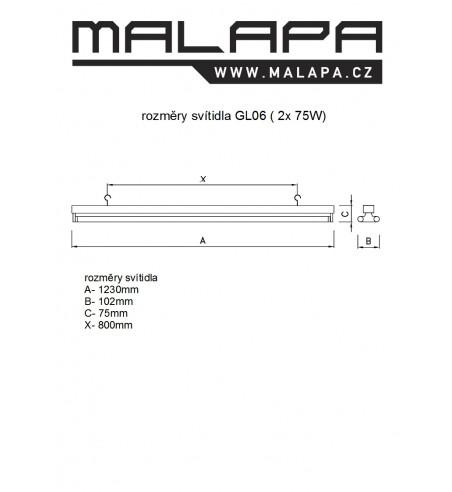 GL06, KOMPLET UV-C germicidní svítidlo 2 x 75W (G13)