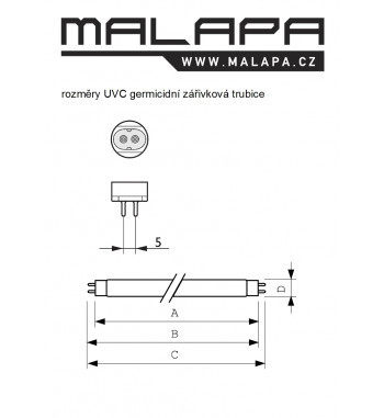 GV10, MINI UV-C germicidní zářivka lineární 4W (G5, délka 135mm)