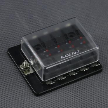 SI615, pojistkové pouzdro, 10x plochá autopojistka, LED